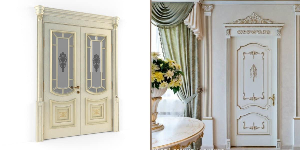 двери в стиле Неоклассика: модели со стеклом