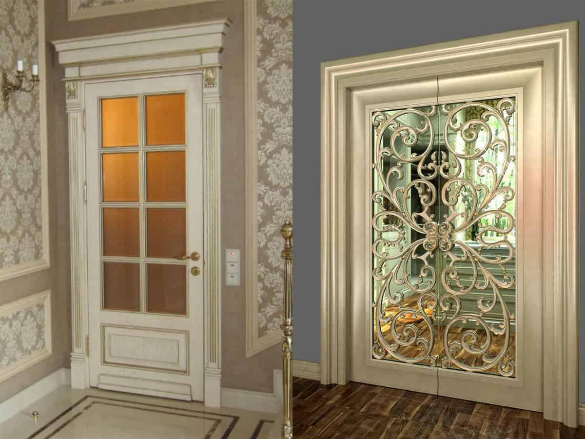 двери в стиле Неоклассика: стекло и ковка