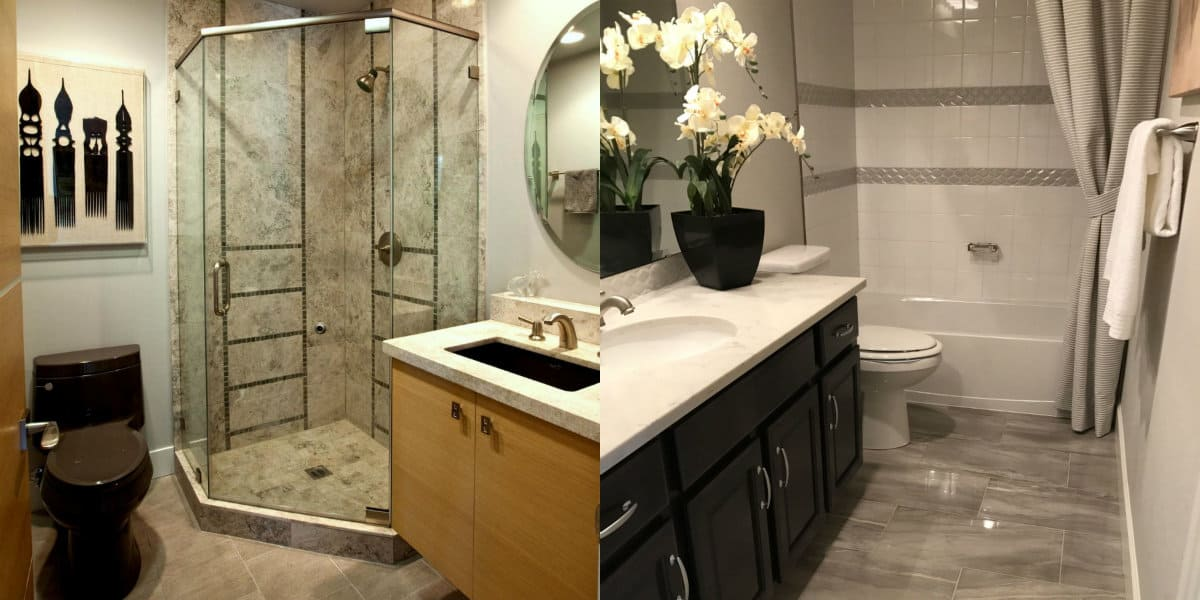 Дизайн маленькой ванной комнаты 2019: камень