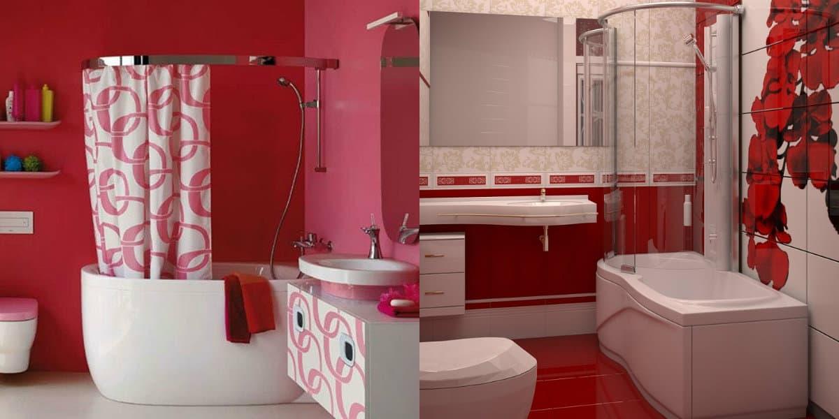 Дизайн маленькой ванной комнаты 2019: красный дизайн