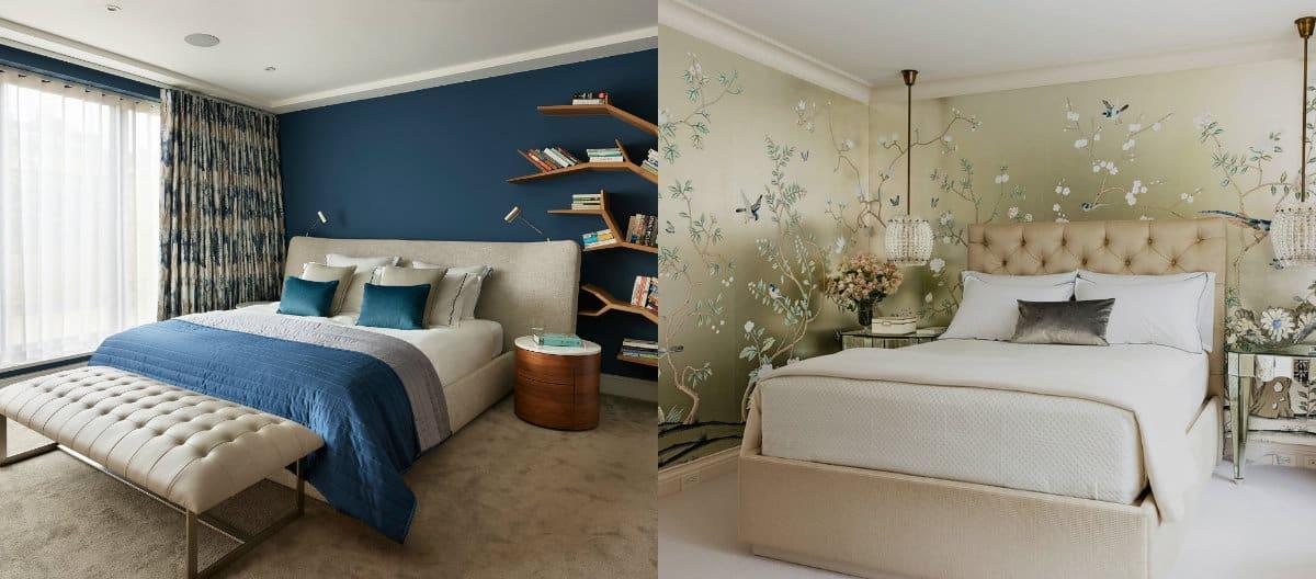 Дизайн спальни 2019 : обои