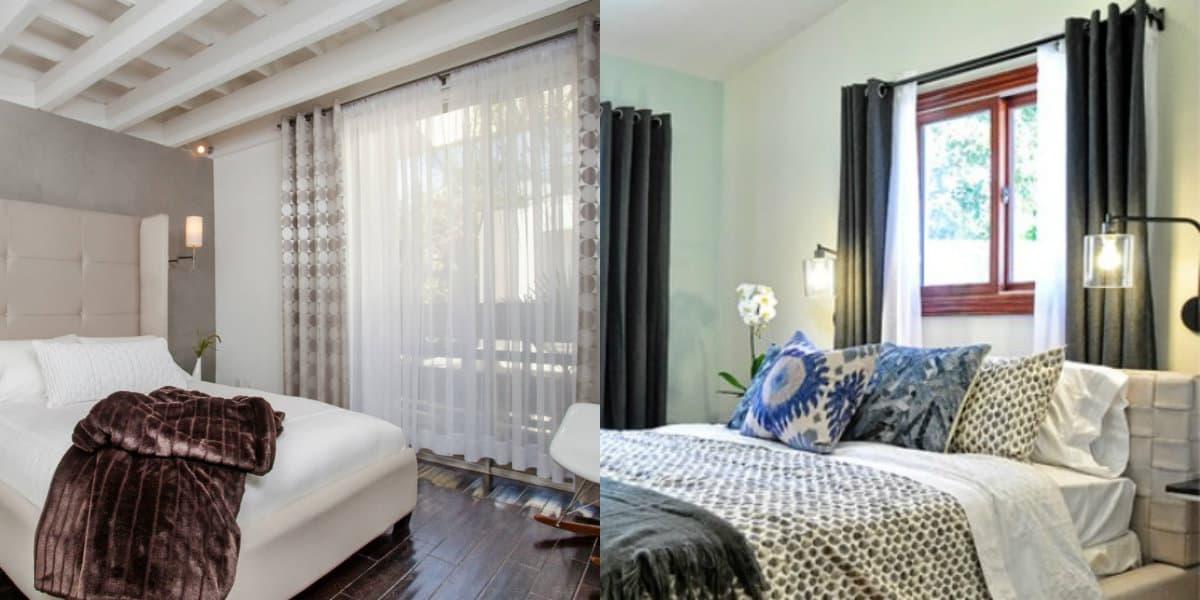 Шторы для спальни 2019: черно-белые варианты