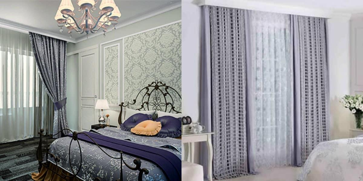 Шторы для спальни 2019: шторы и обои