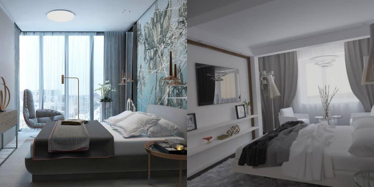 дизайн маленькой спальни 2019: шторы