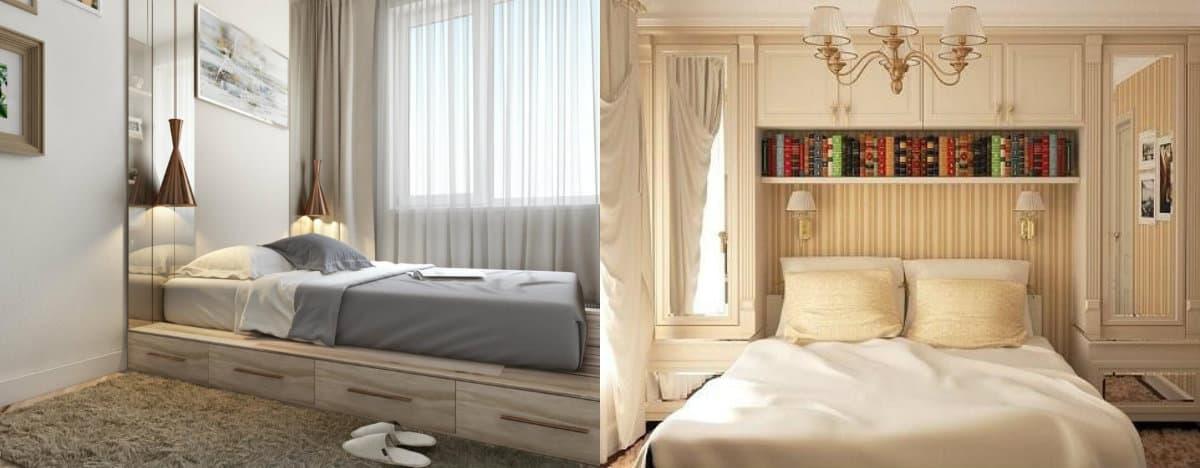 дизайн маленькой спальни 2019: кровать