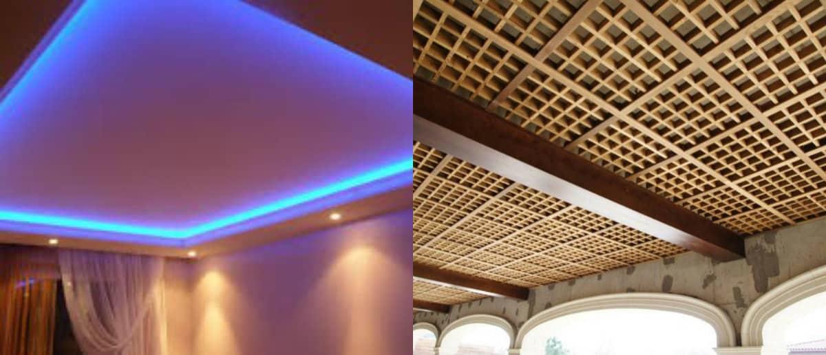 модные потолки 2019 : решетчатый потолок