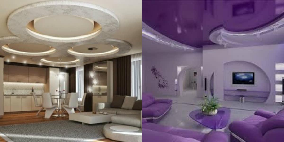модные потолки 2019 : подвесные конструкции