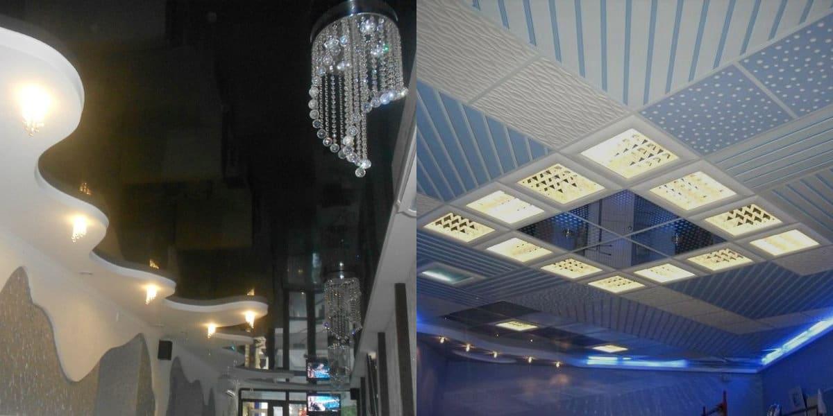 модные потолки 2019 : контрастный потолок