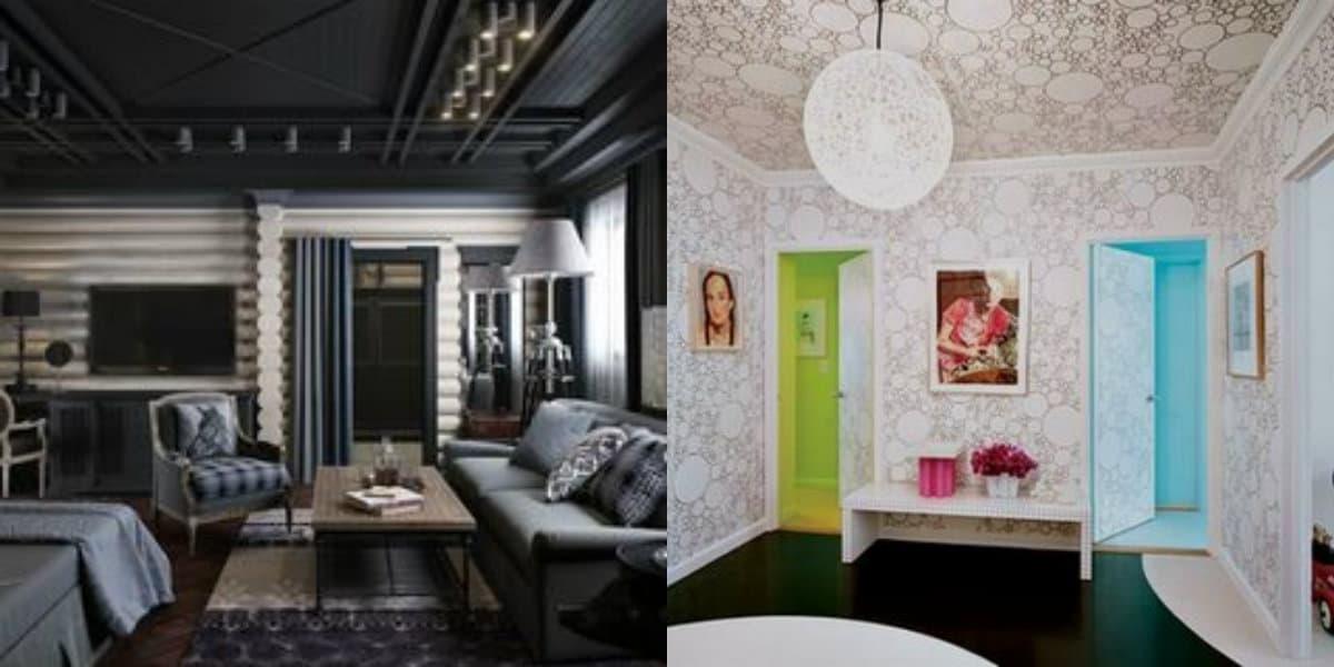 модные потолки 2019 : отделка обоями