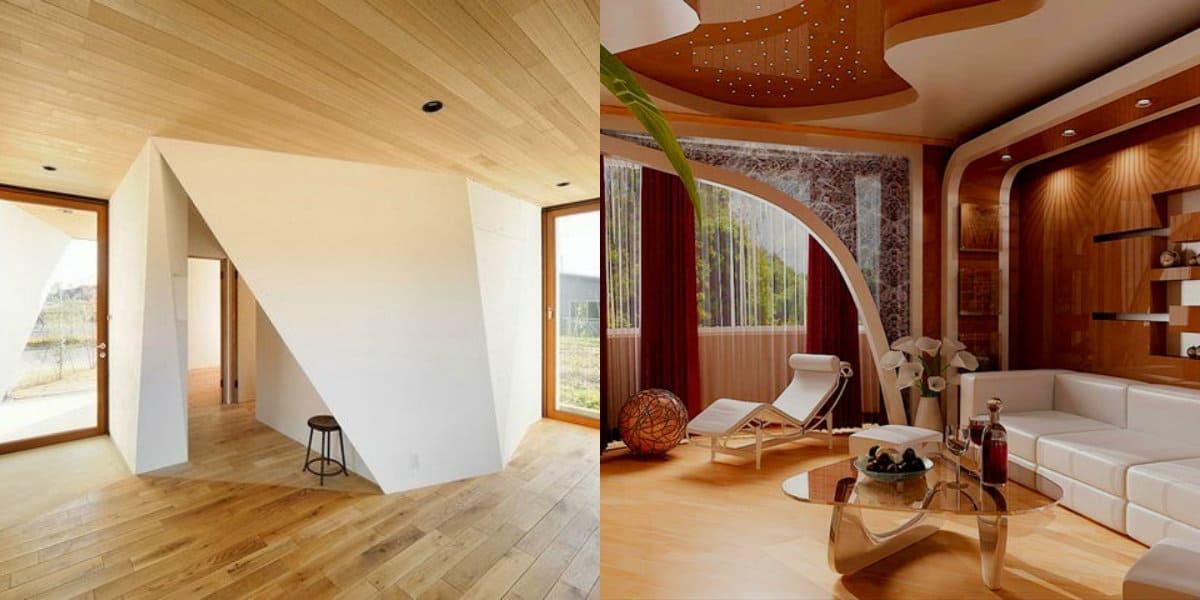 модные потолки 2019: деревянный потолок