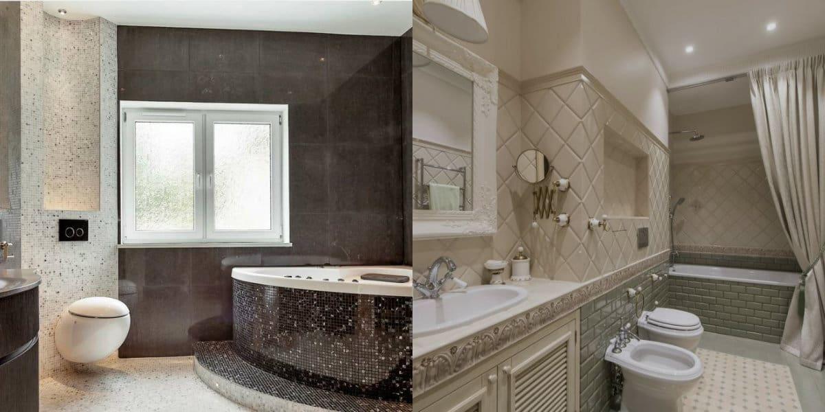 Плитка для ванной 2019: стили