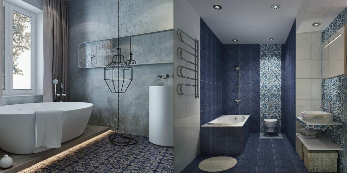 Плитка для ванной 2019: под бетон