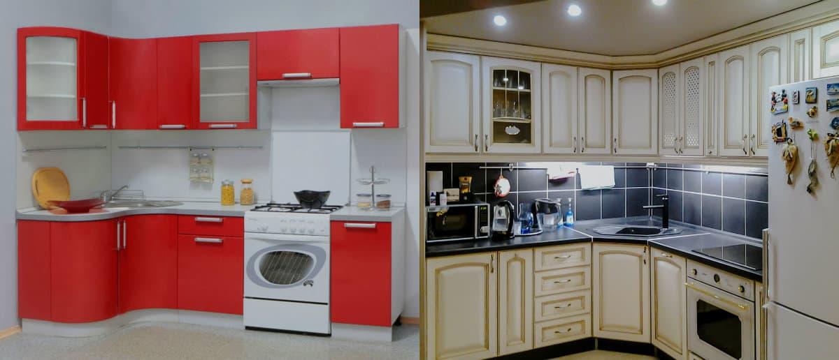 Угловая кухня 2019: красная кухня