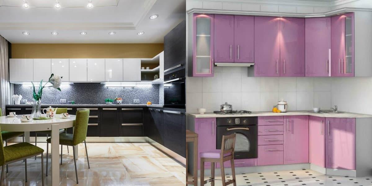 Угловая кухня 2019: розовый фасад