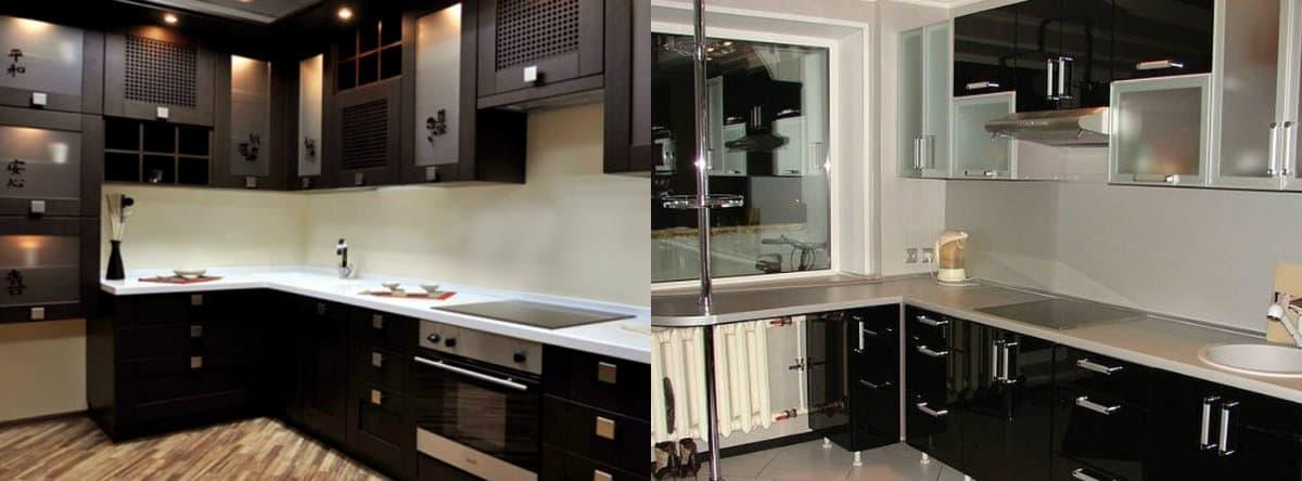 Угловая кухня 2019: черная кухня