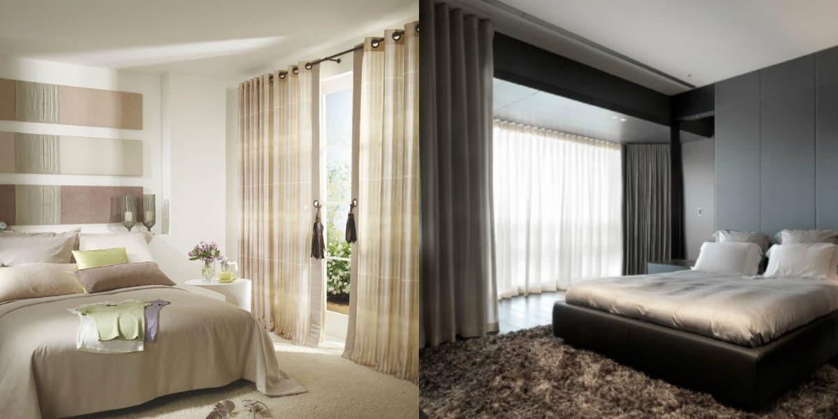 шторы в спальню 2019: коричневые модели