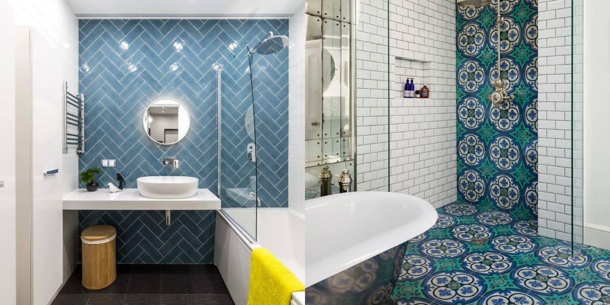дизайн ванной 2019: плитка с орнаментом