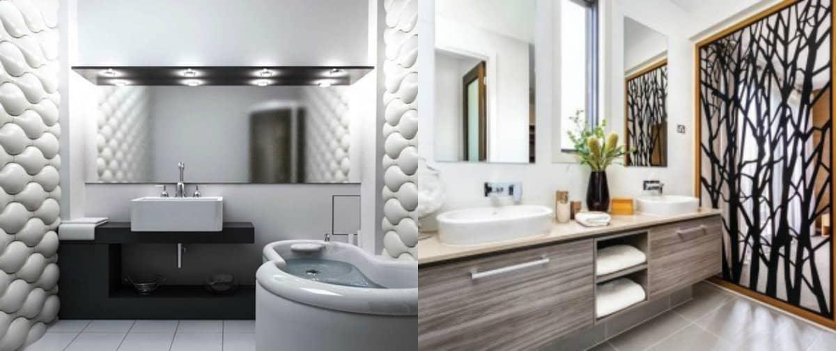 дизайн ванной 2019: 3Д-плитка