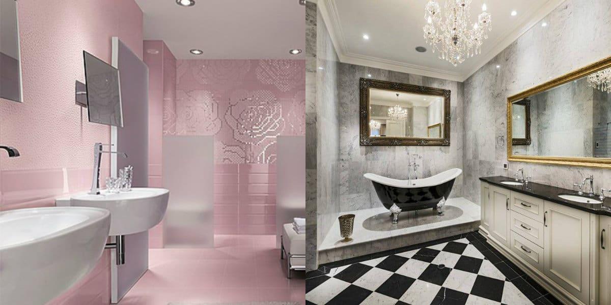 дизайн ванной 2019: розовый цвет