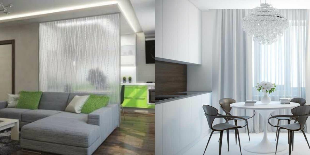 дизайн кухни гостиной 2019: перегородка