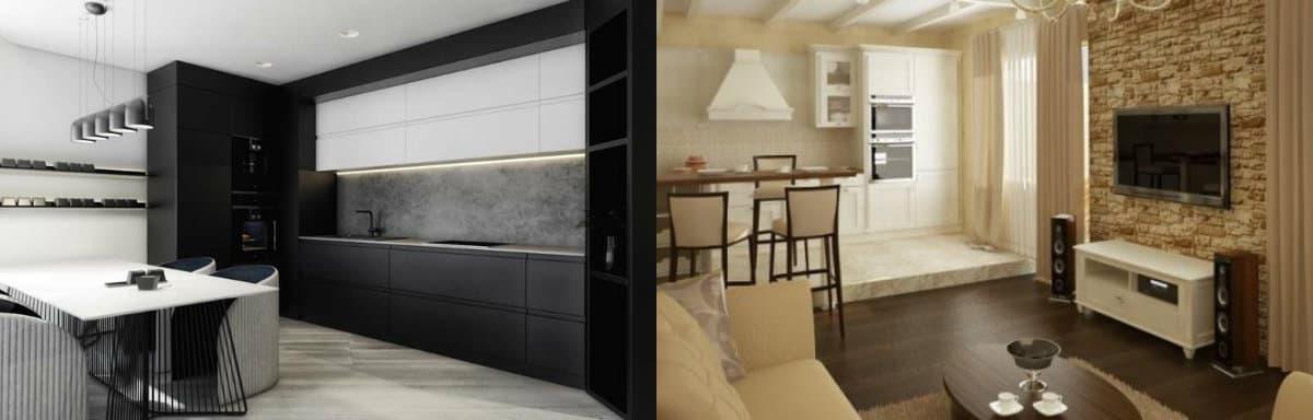 дизайн кухни гостиной 2019: черная кухня