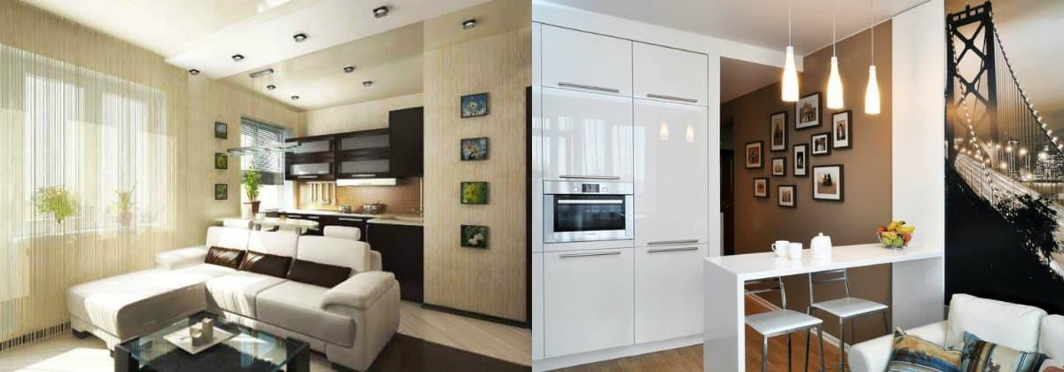 дизайн кухни гостиной 2019: мебель