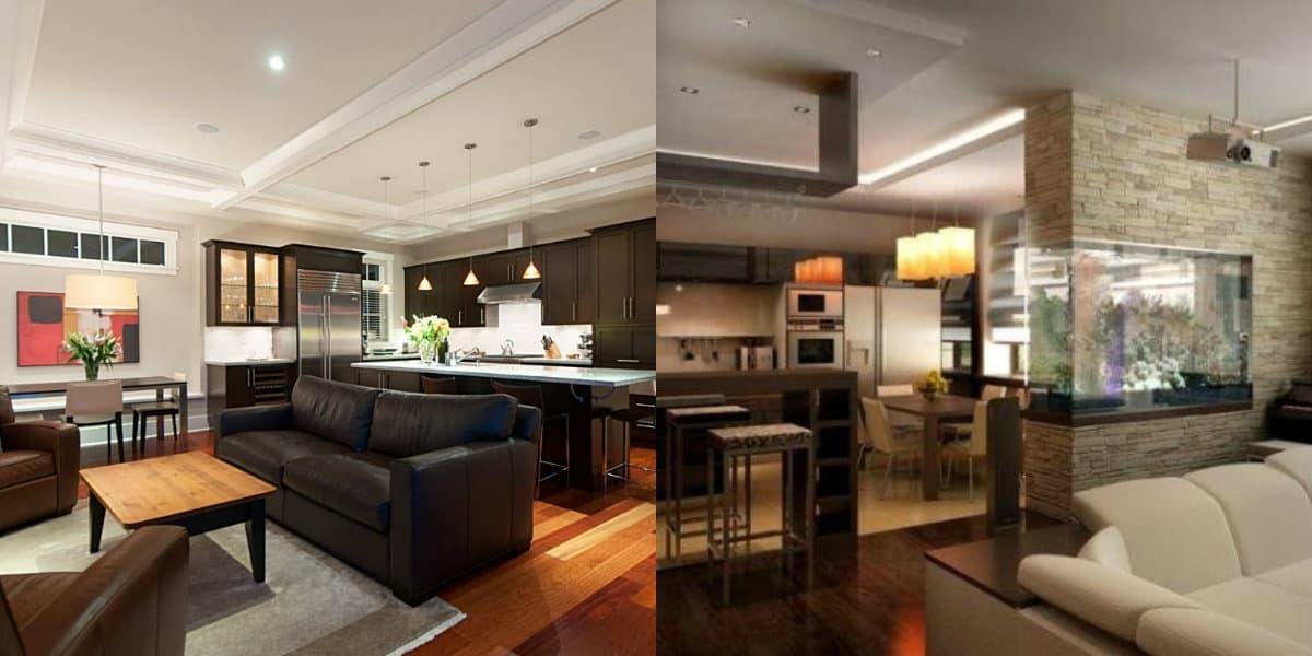 дизайн кухни гостиной 2019: отделка