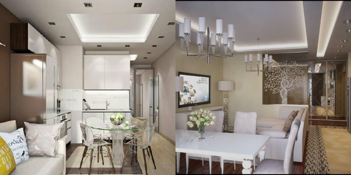 дизайн кухни гостиной 2019: столовая зона