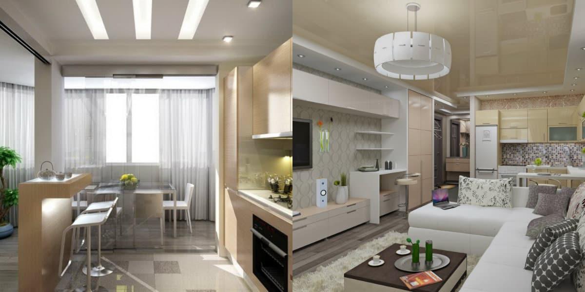 дизайн кухни гостиной 2019: планировка