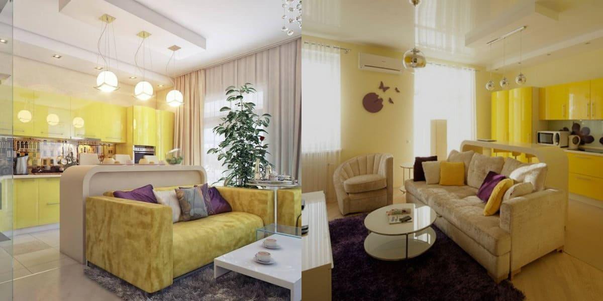 дизайн кухни гостиной 2019: цвет