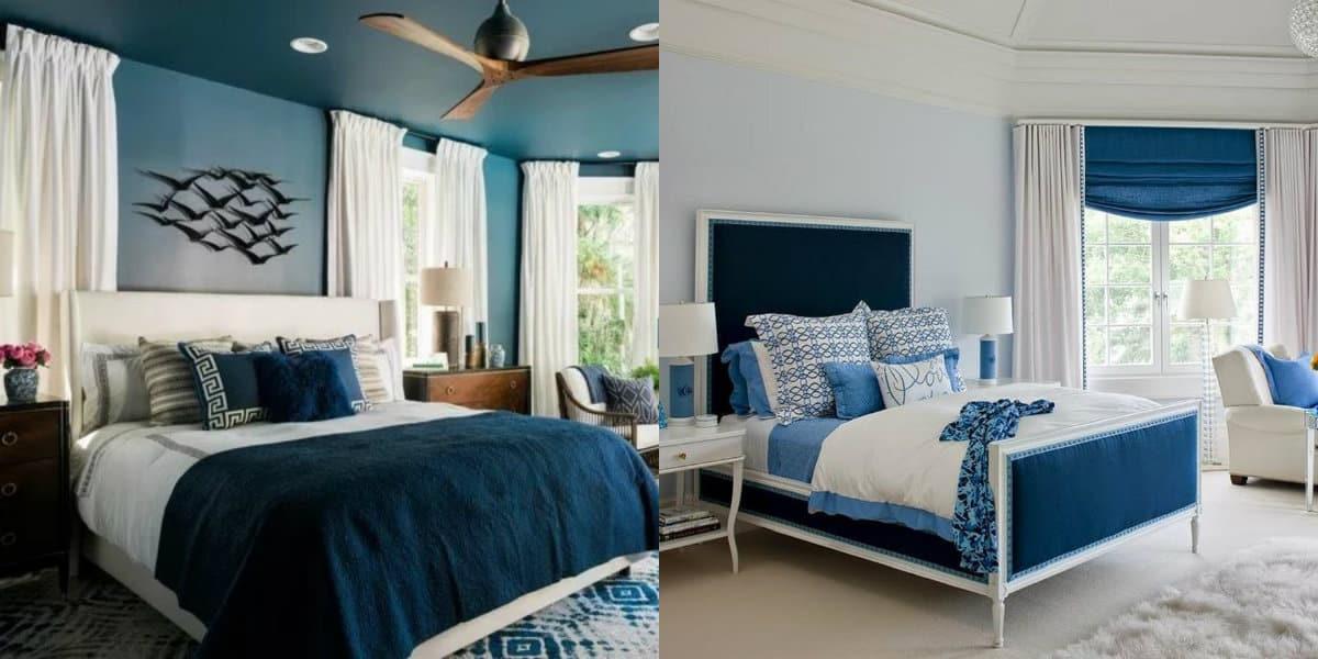 Интерьер спальни 2019: голубая спальня