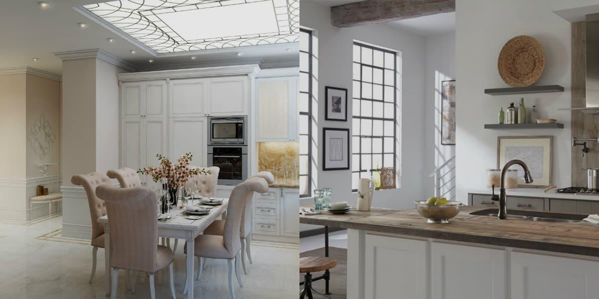 Классические кухни 2019: неоклассическая мягкая мебель