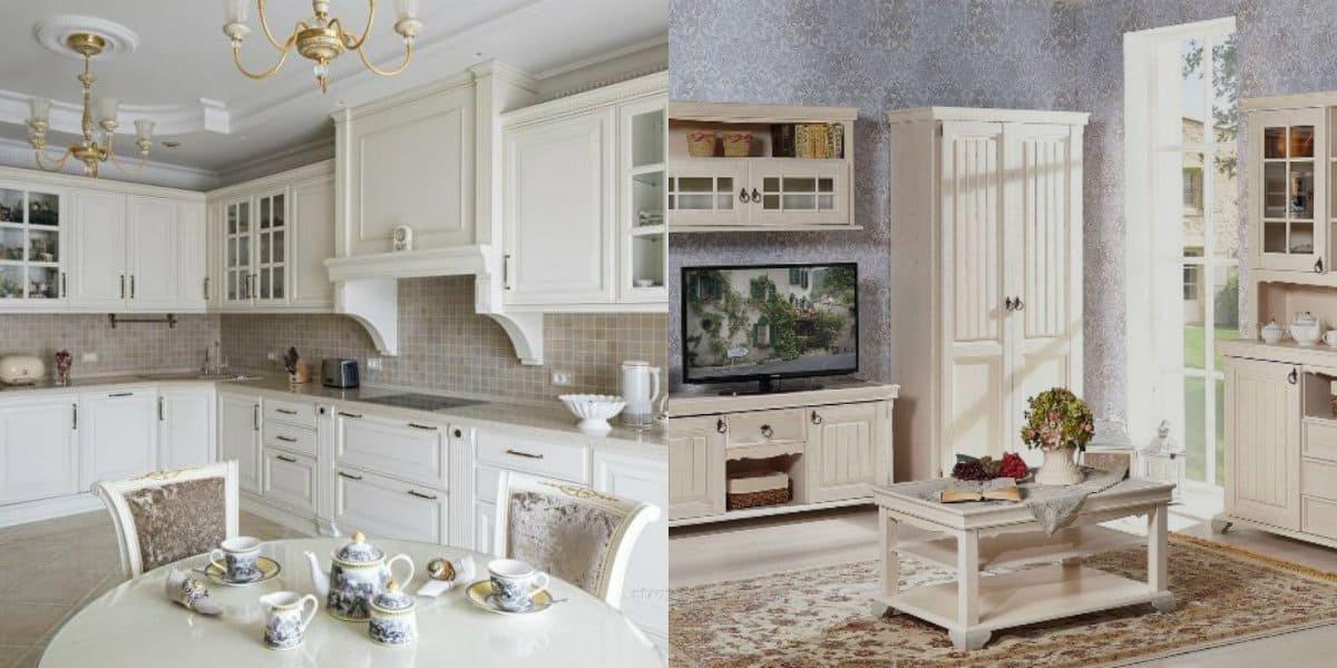 Классические кухни 2019: кухня-столовая