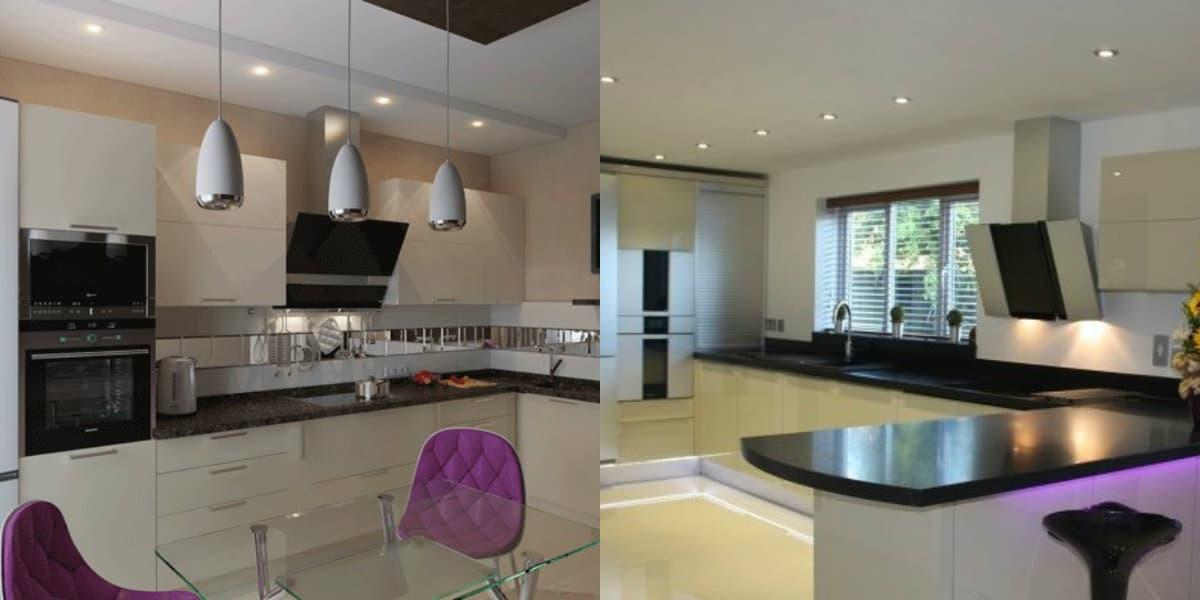 Кухни угловые дизайн 2019: фиолетовый цвет