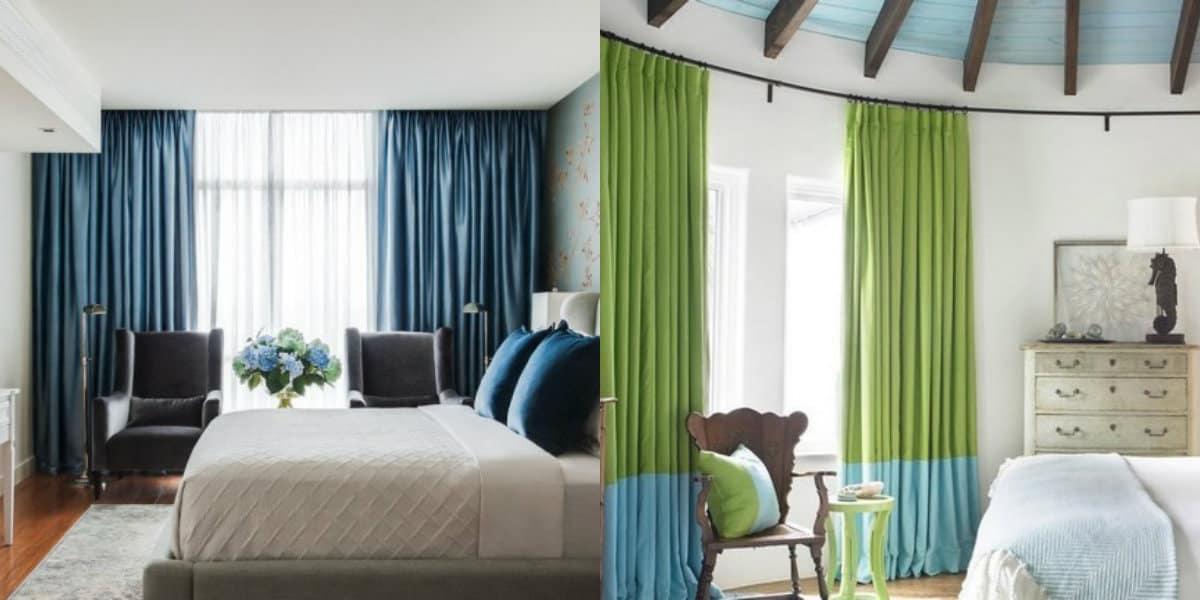 шторы в спальню 2019: двуцветные варианты