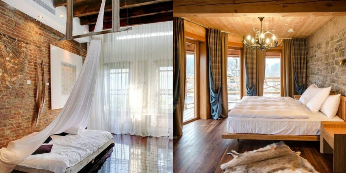 шторы в спальню 2019: лофт