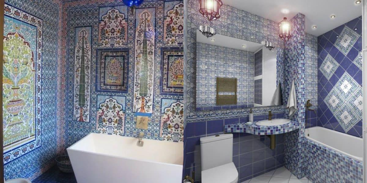 Ванная в арабском стиле: синий цвет