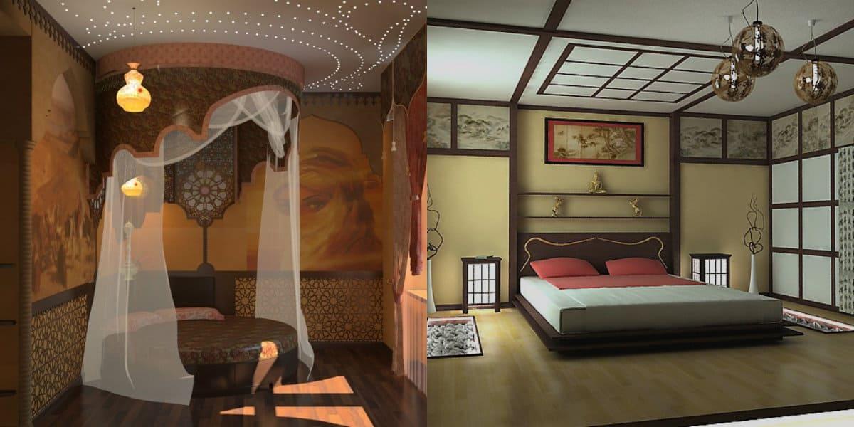 Спальня в восточном стиле: балдахин