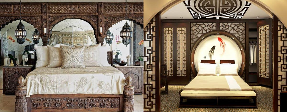 Спальня в восточном стиле: кровать