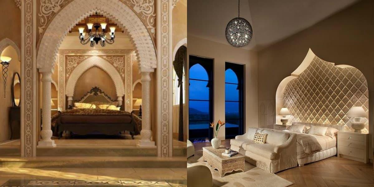 Спальня в восточном стиле: колонны