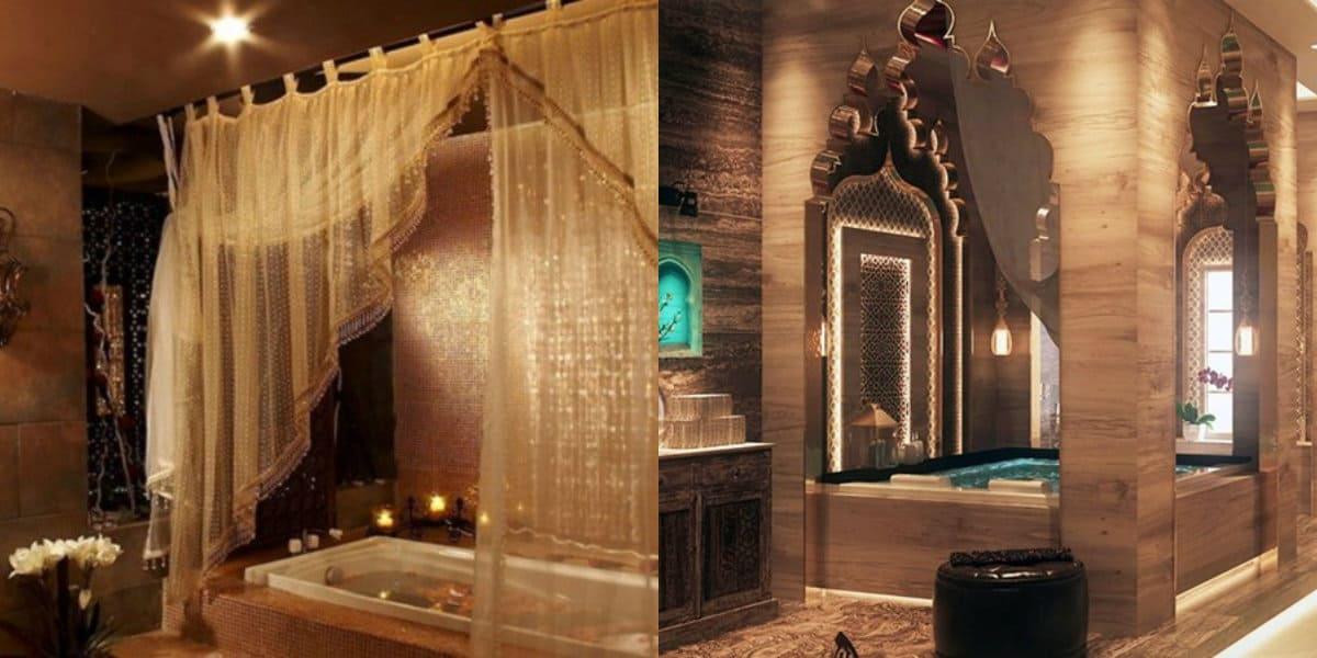 Ванная в восточном стиле: текстиль