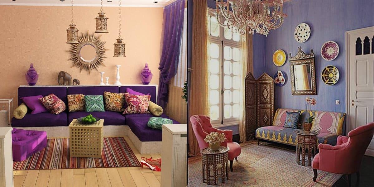 Гостиная в восточном стиле: диван