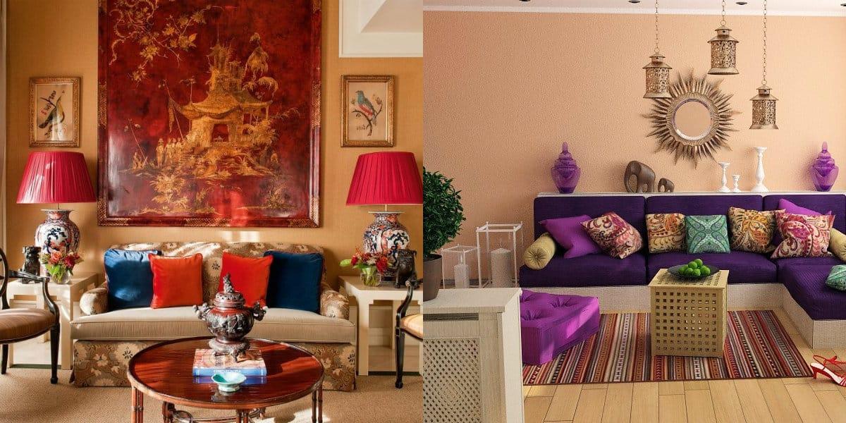 Квартира в восточном стиле: яркие подушки