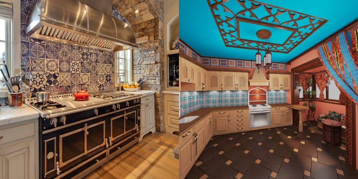 Кухня в восточном стиле: потолок