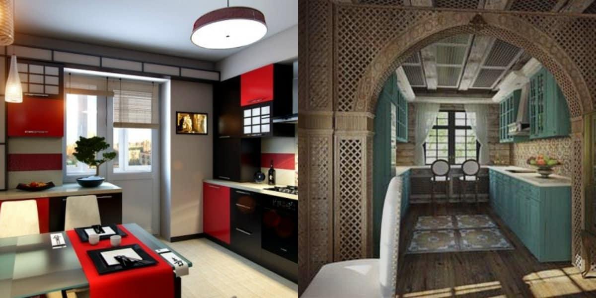 Кухня в восточном стиле: черно-красный интерьер
