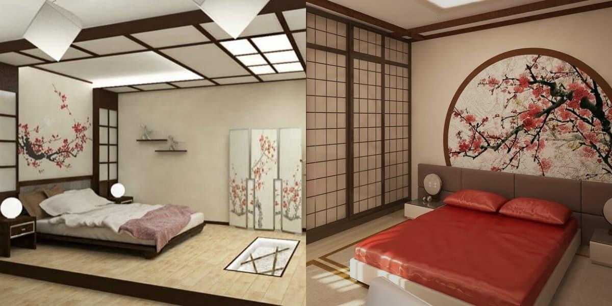 Спальня в японском стиле: текстиль