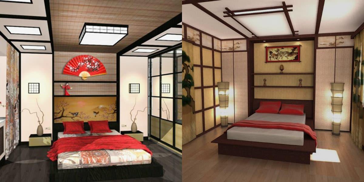 Спальня в японском стиле: стены