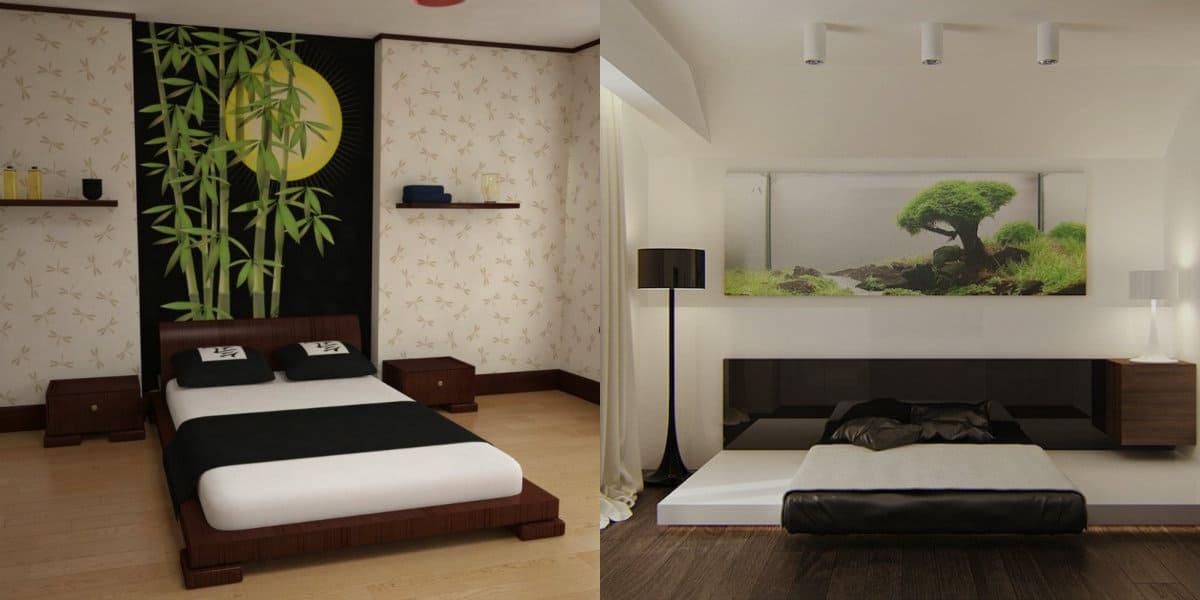 Спальня в японском стиле: бело-черный дизайн