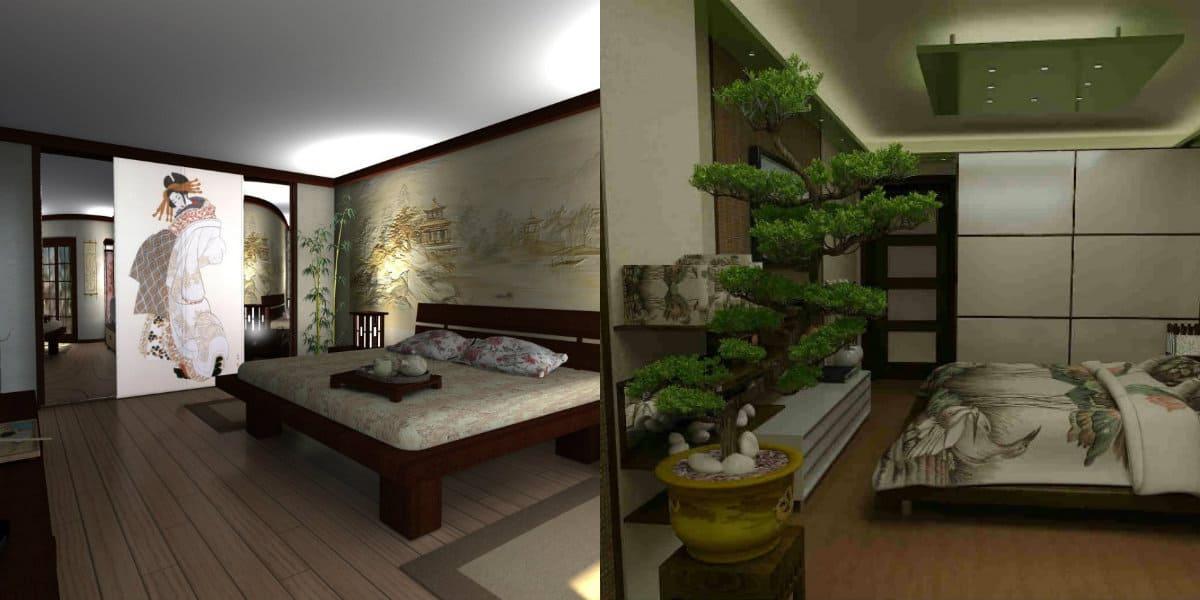 Спальня в японском стиле: бонсай