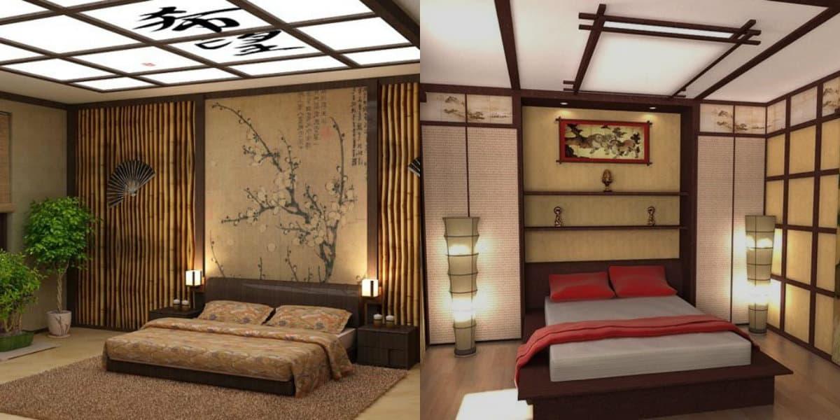 Спальня в японском стиле: фрески